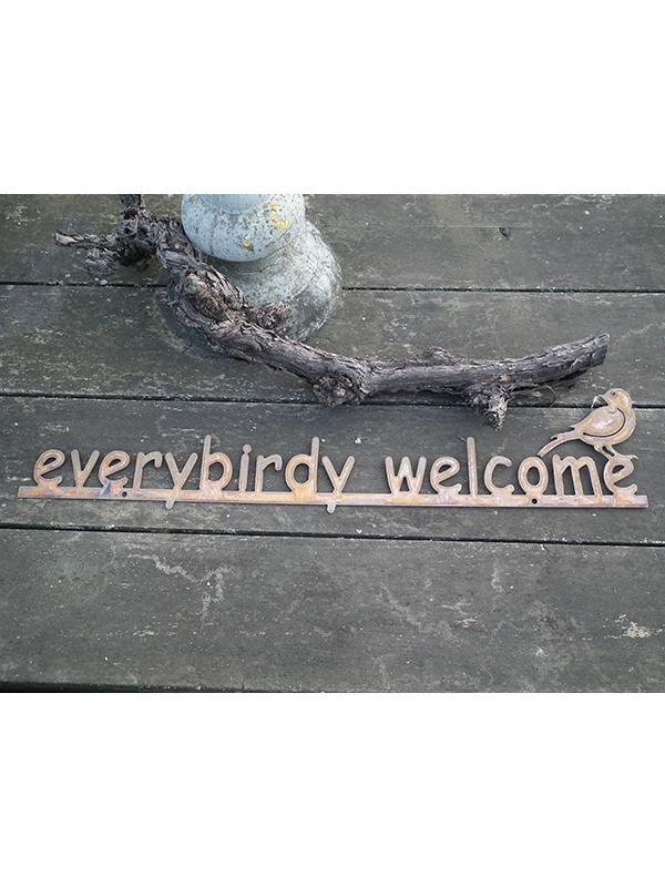 Wand tekst Every birdy welcome