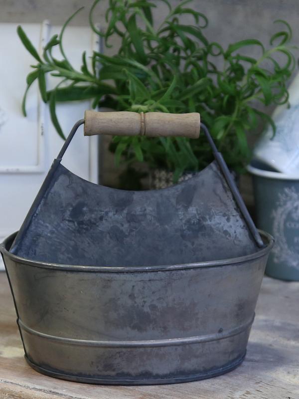 Zinken zeep & spons bakje met handvat