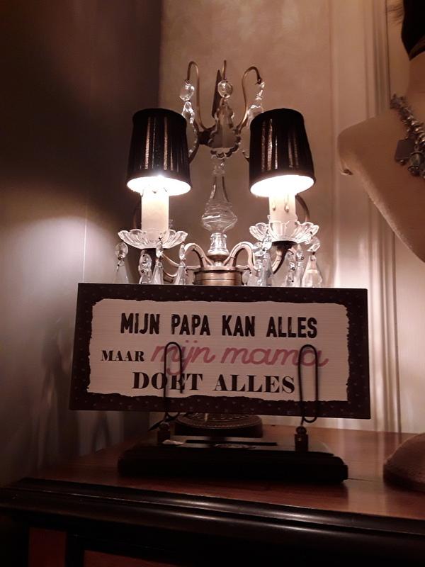 Tekstbord: Mijn papa kan alles maar mijn mama doet alles