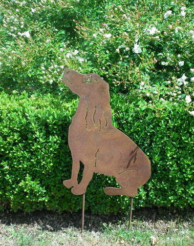 Hond zittend op piek