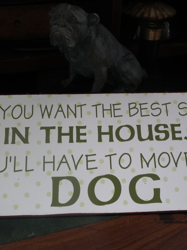 Tekstbord: If you want the best seat in the house you'll have to move the dog