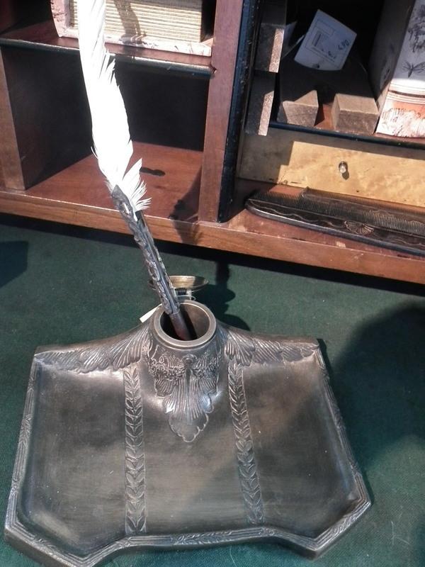 Koperen inktpot houder