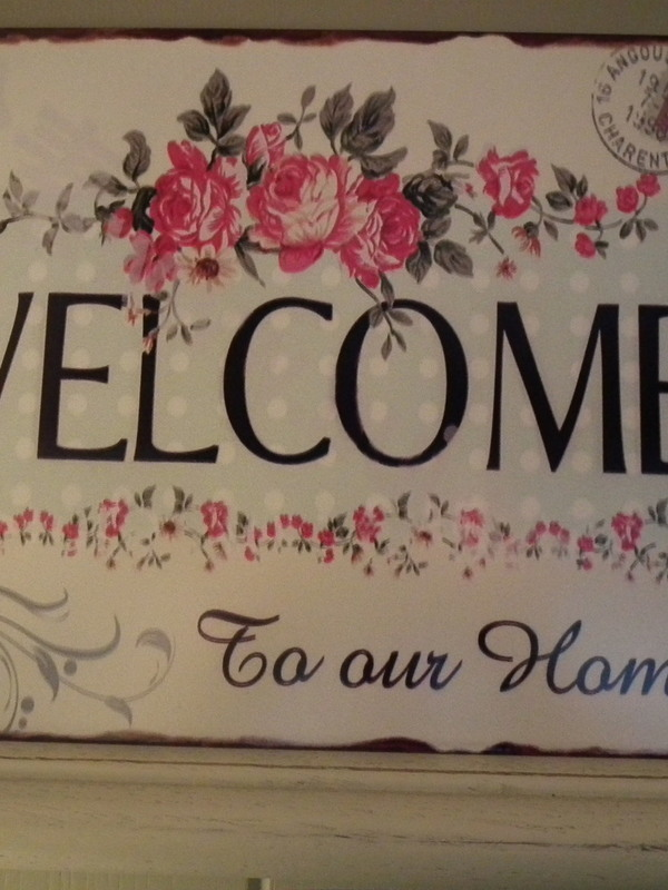 Tekstbord: Welcome to our home