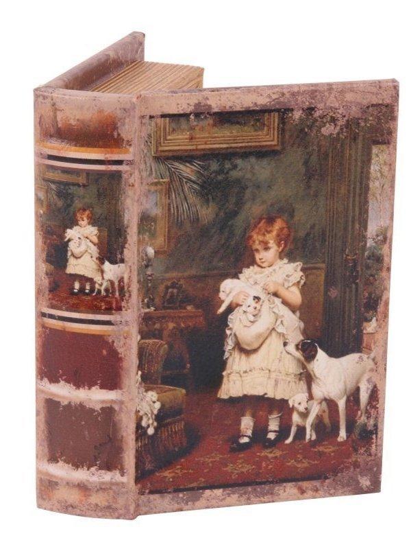 Boekendoos Kind met hondjes 15 cm