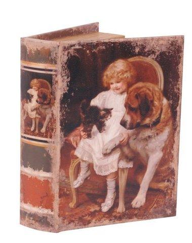 Boekendoos Kind met hond en kitten 23 cm