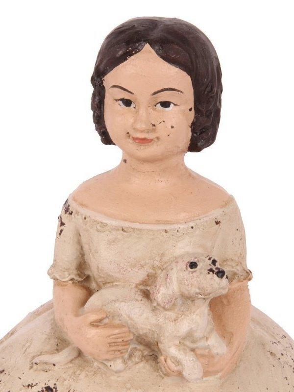 Meisje Victoria met hond als opbergdoos