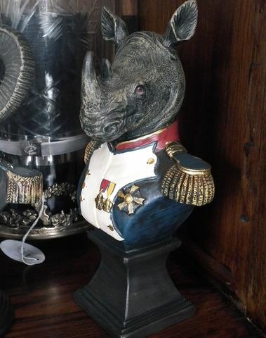 Gekostumeerde neushoorn op voet