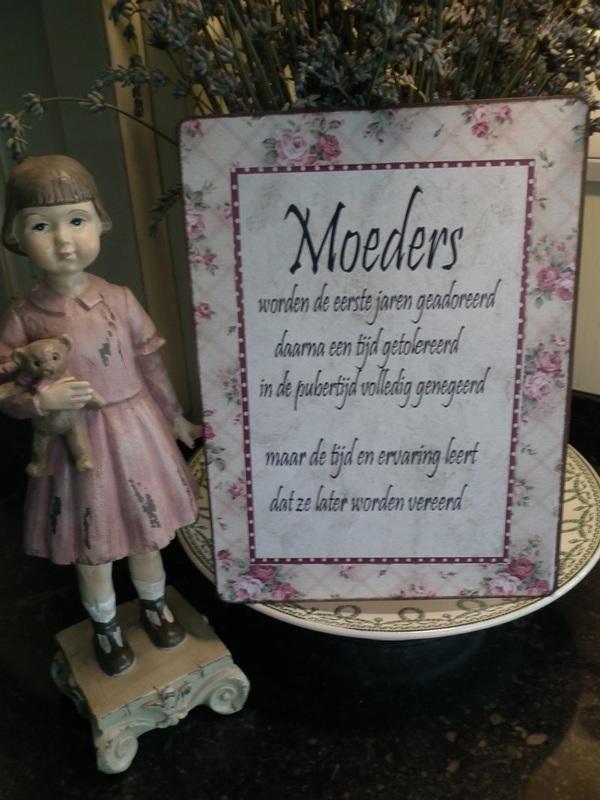Gebloemd tekstbord: Moeders