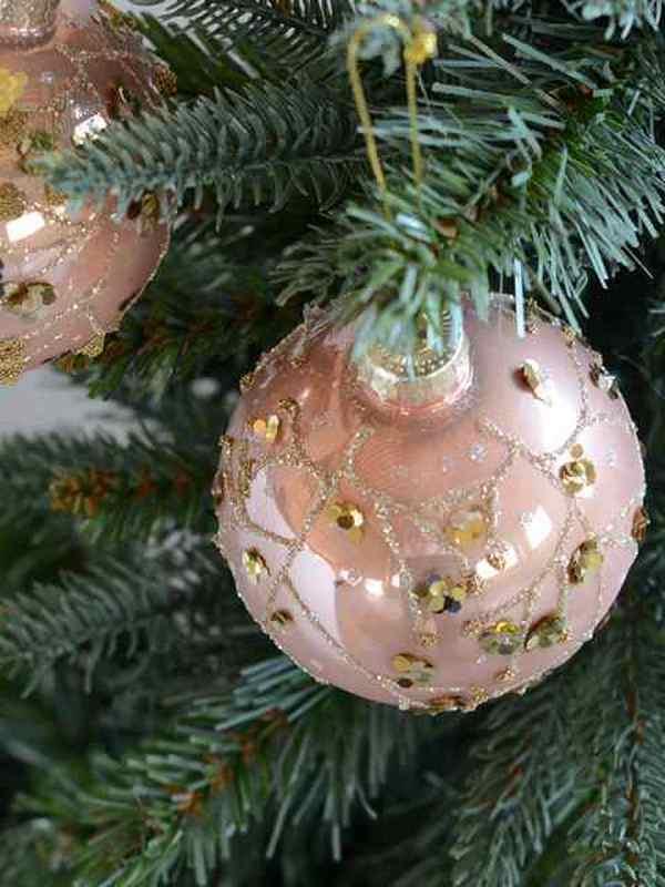 Kerstbal roos & goud D 8cm