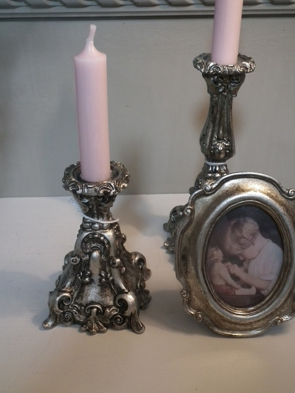 Kandelaar old french antique silver H 18 cm