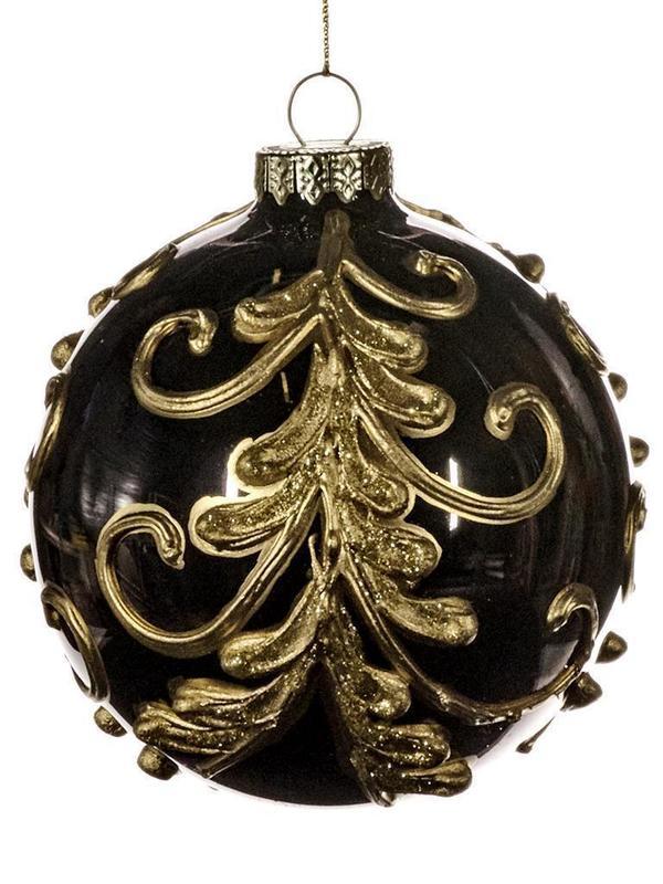 Kerstbal barok zwart & goud 10 cm