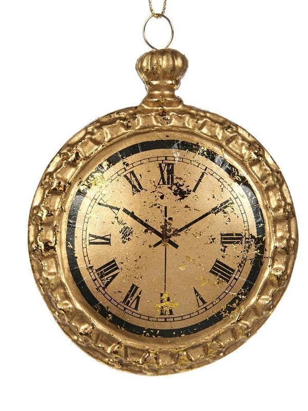 Antieke klok goud 11 cm