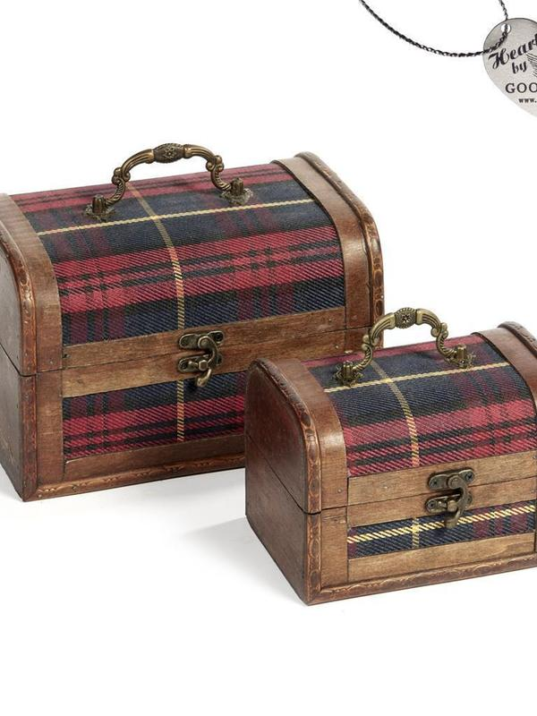 Set 2 koffertjes met geruite stof