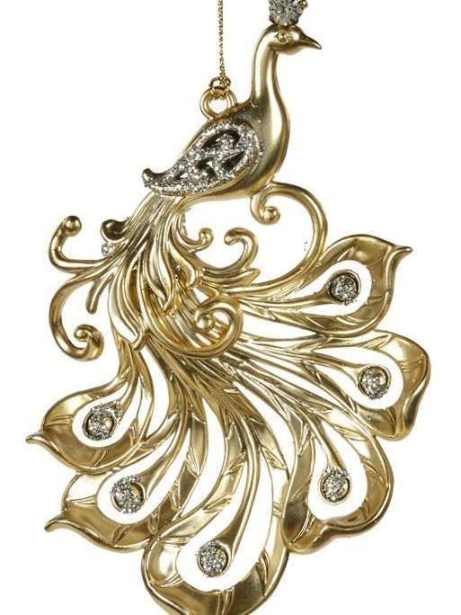 Sierlijke vogel goud H 14.5 cm