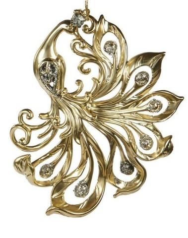 Sierlijke vogel goud H 12 cm