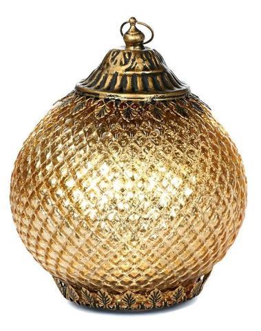 lantaarn goud H 20 cm ( Led lampje op Batt. )
