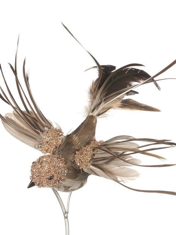 Vogel op klip bruin & goud