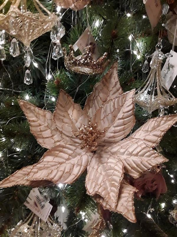 Kerstster op klip beige & goud