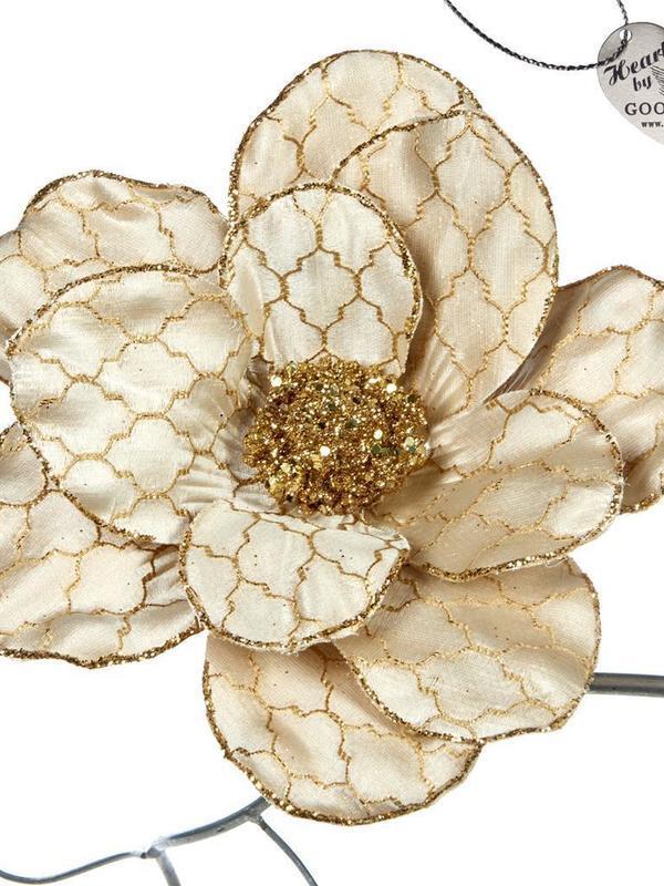 Magnolia op klip beige & goud