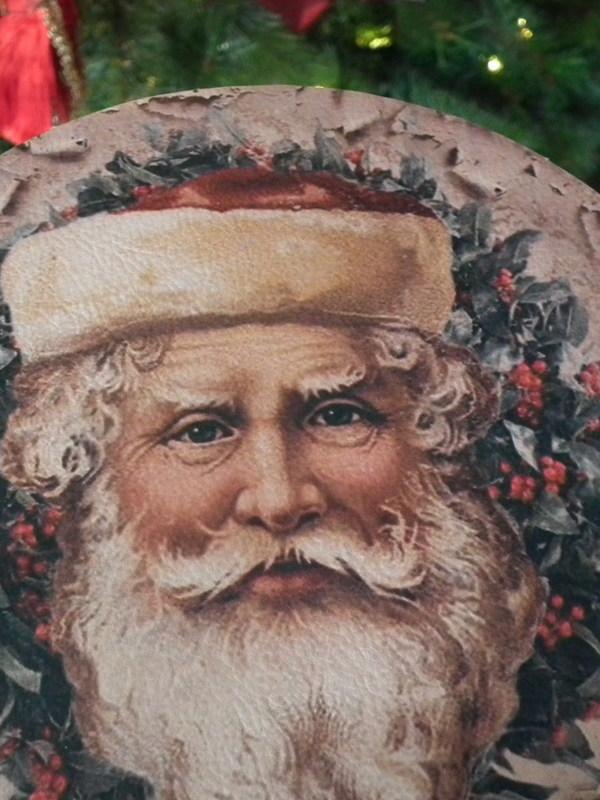 Ronde box met deksel met Kerstman