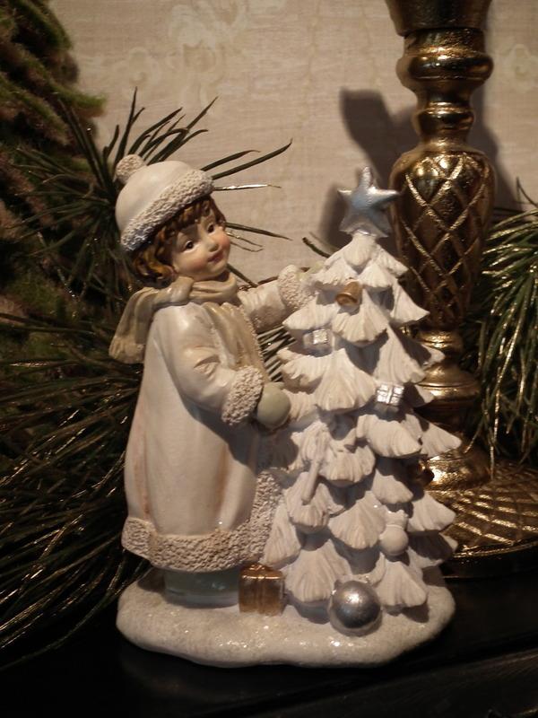 Kind met kerstboom crème