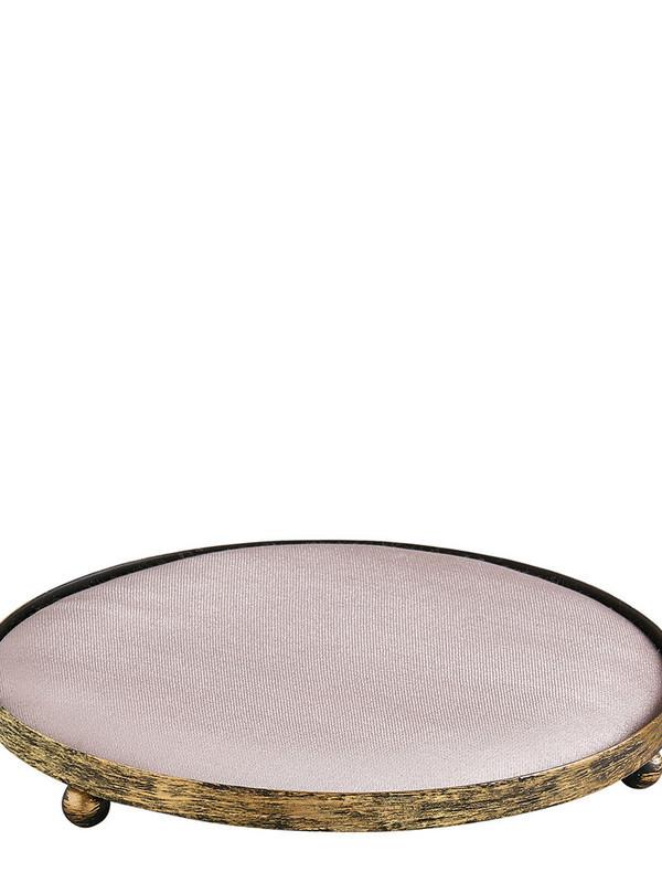 Poeder roze rond gestoffeerd dienblad