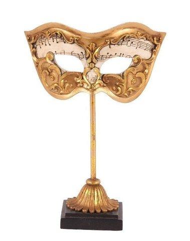 Venetiaans masker op sokkel goud en crème H 20 cm
