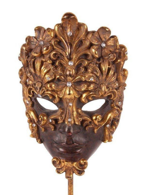 Venetiaans masker op sokkel goud en bruin H 22.5 cm