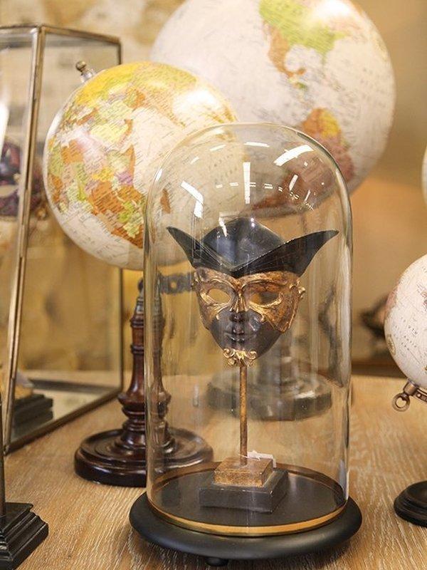Venetiaans masker op sokkel 23 cm zwart & goud