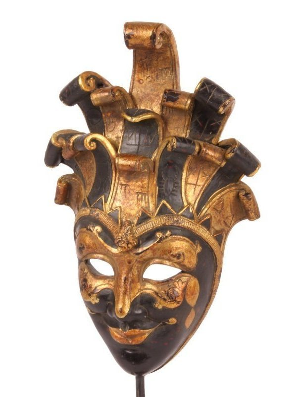 Venetiaans masker op sokkel 39 cm zwart & goud