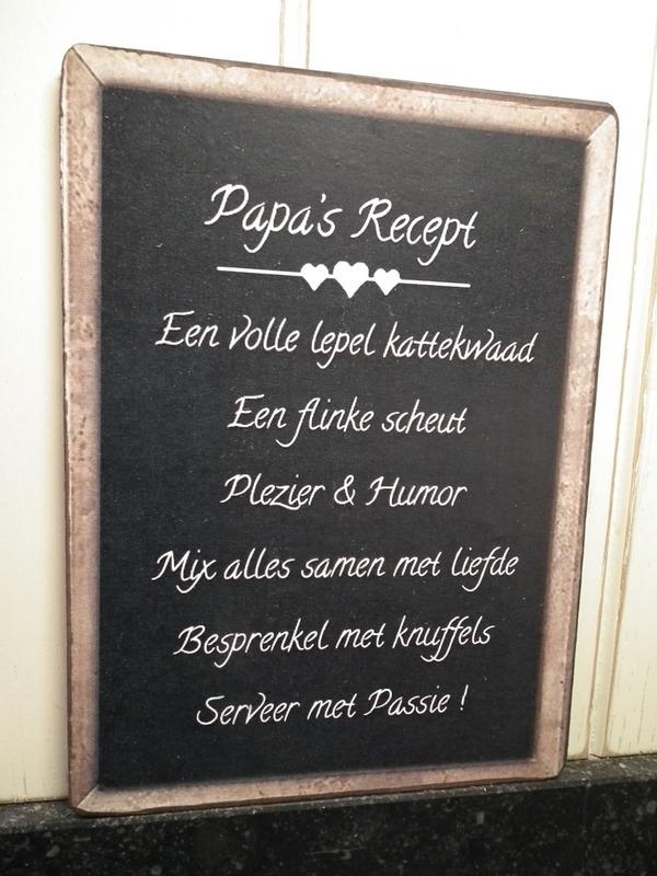 Tekstbord: Papa's recept