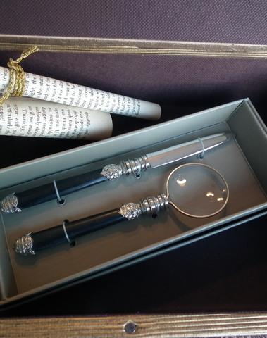 Set brievenopener & vergrootglas (zwart & zilver)