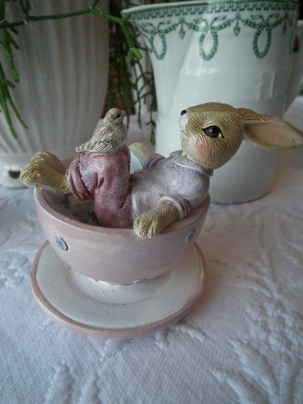 Jongen liggend in koffietas met vogel