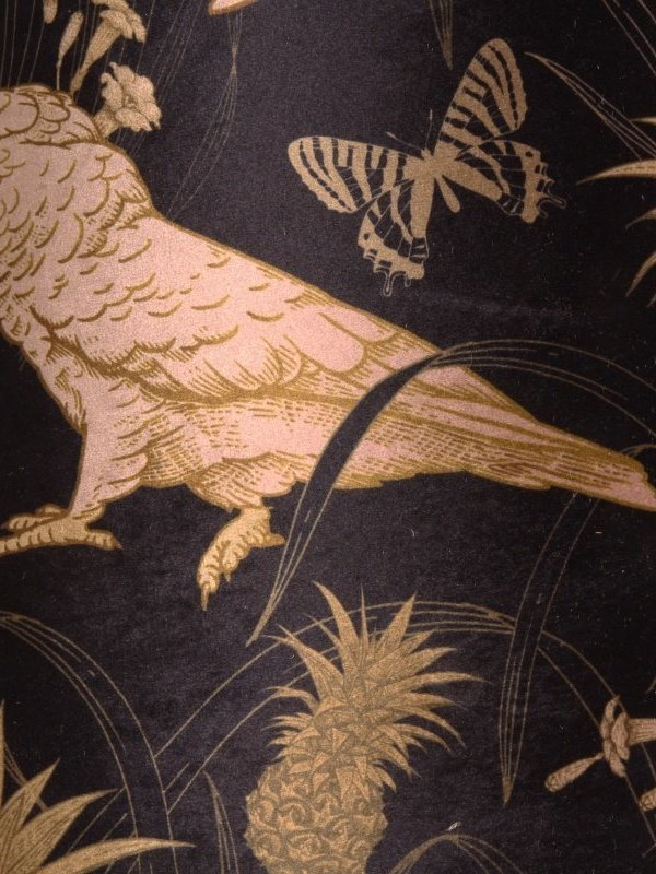 Lampenkap rond 50 cm zwart & goud met papegaaien