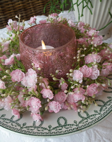 Zijde gipskransje D 20 cm roos