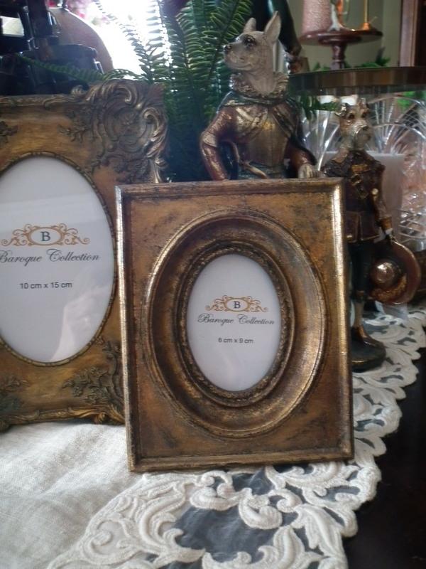 Barok fotokader goud rechthoekig foto ovaal 6 x 9 cm