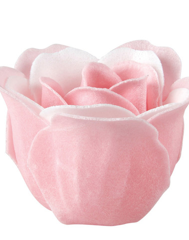 Doos van 12 rozen in roze en witte zeepbladeren