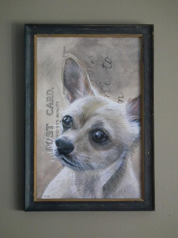 Lijstje hout zwart Chihuahua