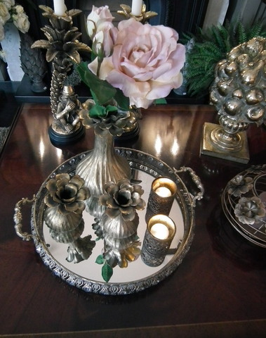 Ronde plateau met spiegelglas en handvaten